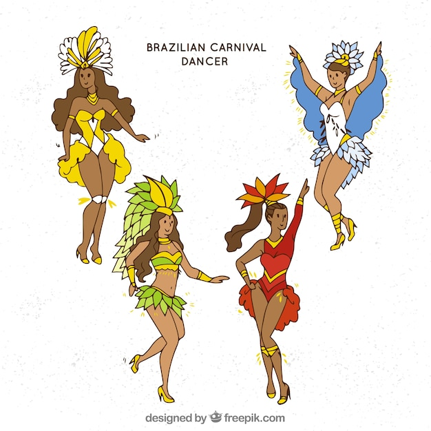 Hand drawn brazilian carnival dancer\ collection