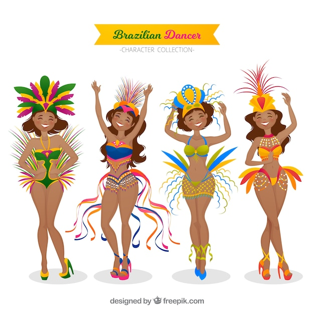 Hand drawn brazilian carnival dancer collection Free Vector