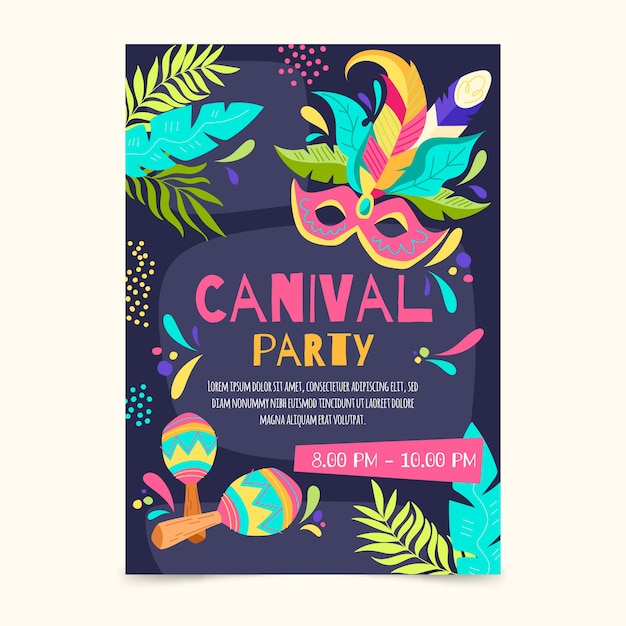 Hand drawn brazilian carnival flyer template Free Vector