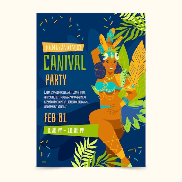 Hand-drawn brazilian carnival flyer Free Vector
