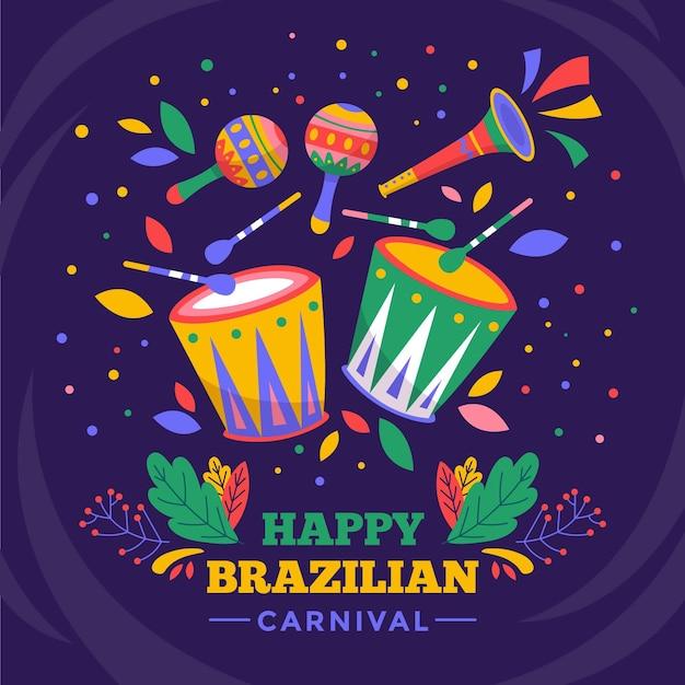 Нарисованные рукой предметы бразильского карнавала Бесплатные векторы