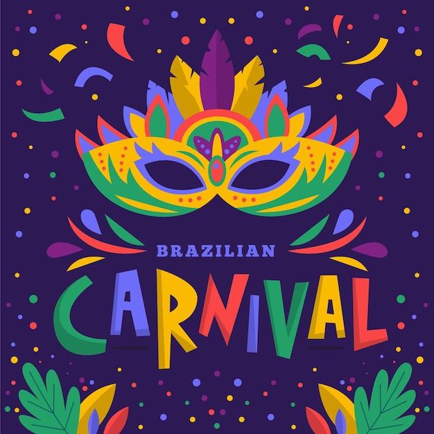 Рисованная бразильская карнавальная маска Бесплатные векторы
