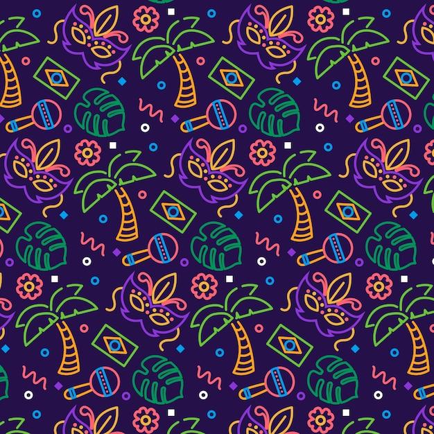 Hand-drawn brazilian carnival pattern theme Free Vector