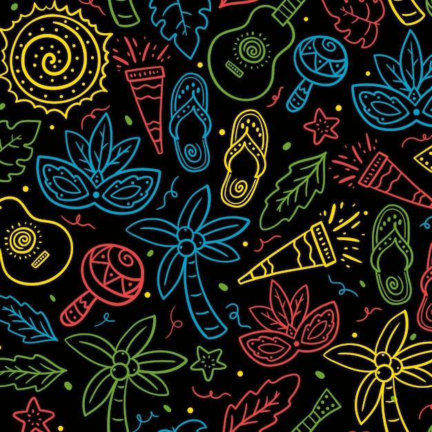 Hand-drawn brazilian carnival pattern Free Vector