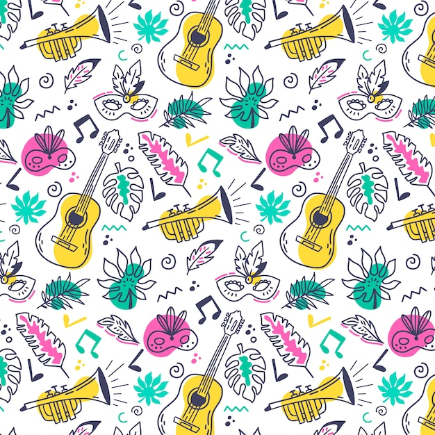 Hand drawn brazilian carnival pattern Free Vector