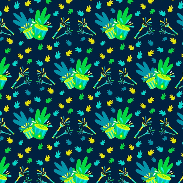 Hand-drawn brazilian carnival pattern Free Vector