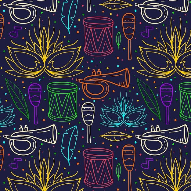 Hand drawn brazilian carnival pattern Free Vector