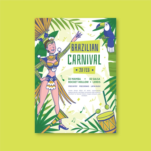 Hand-drawn brazilian carnival poster template theme Free Vector