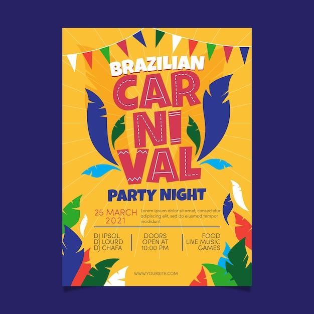 Нарисованный рукой шаблон плаката бразильского карнавала Бесплатные векторы