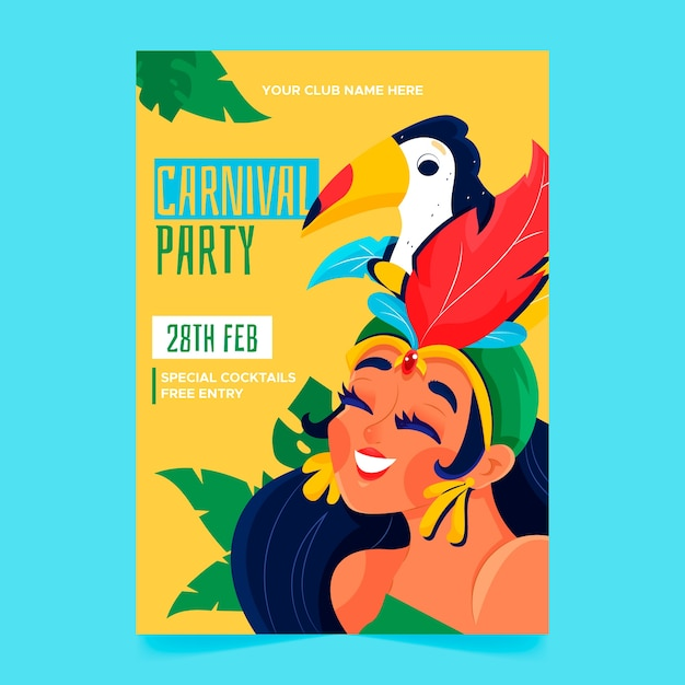 Hand drawn brazilian carnival poster with woman and bird Free Vector