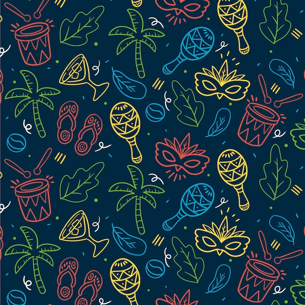 Hand drawn brazilian carnival seamless pattern with maracas music instruments Free Vector