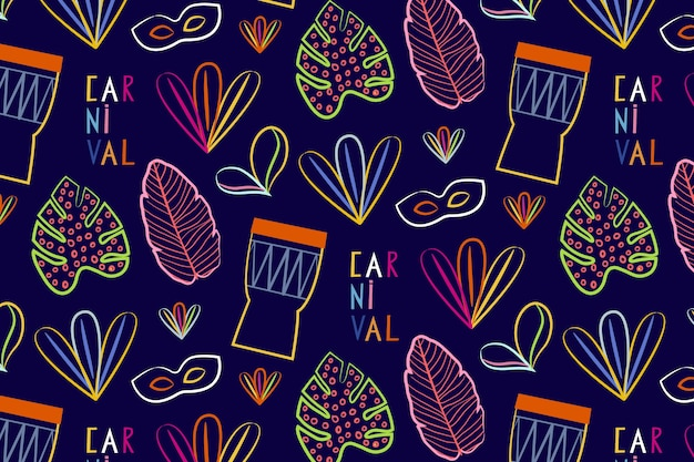 Hand drawn brazilian carnival seamless pattern with percussion music instruments Free Vector