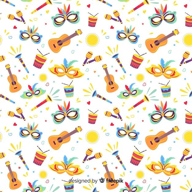 Hand drawn brazilian elements carnival pattern Free Vector