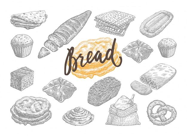 手描きパンとペストリーセット 無料ベクター