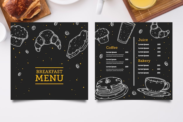 Modello di menu colazione disegnata a mano Vettore gratuito