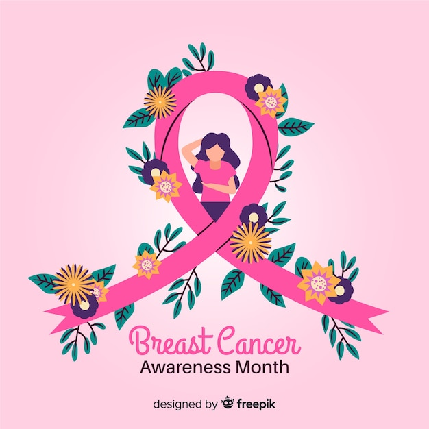 Hand-drawn breast cancer awareness ribbon with flowers Free Vector