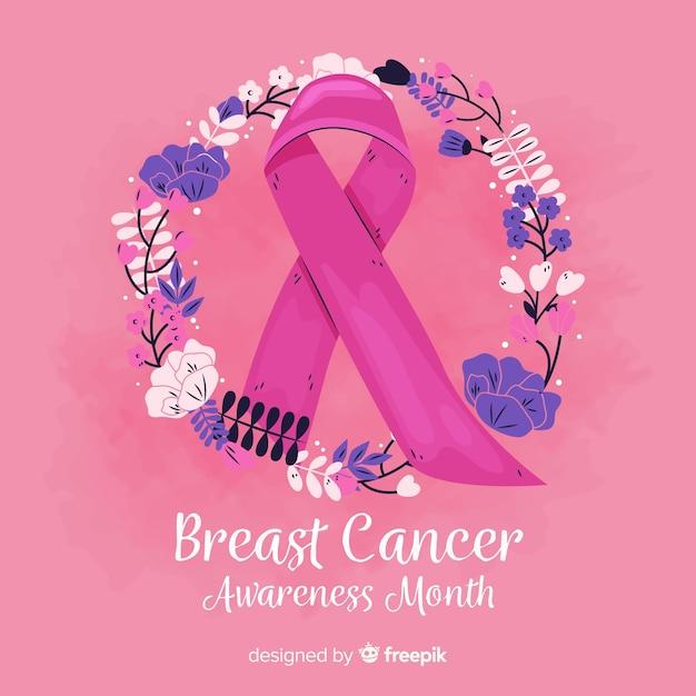 Hand-drawn breast cancer awareness ribbon Free Vector