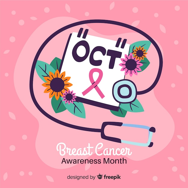 Hand drawn breast cancer awareness with ribbon Free Vector