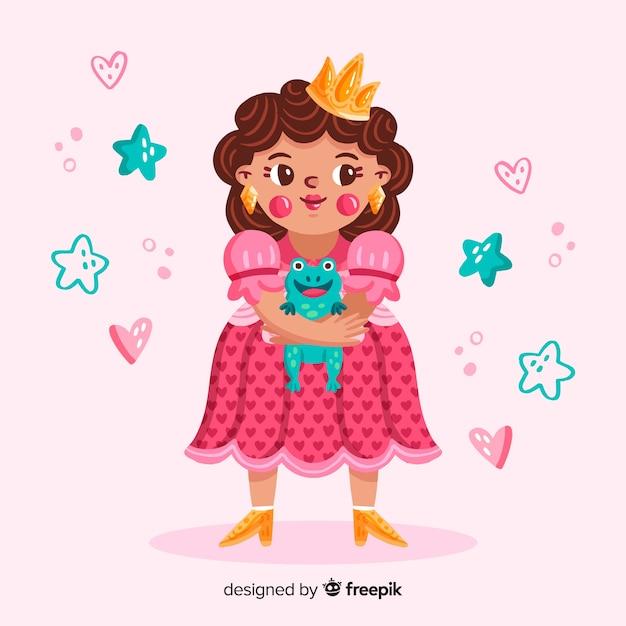 Hand drawn brunette princess portrait Free Vector