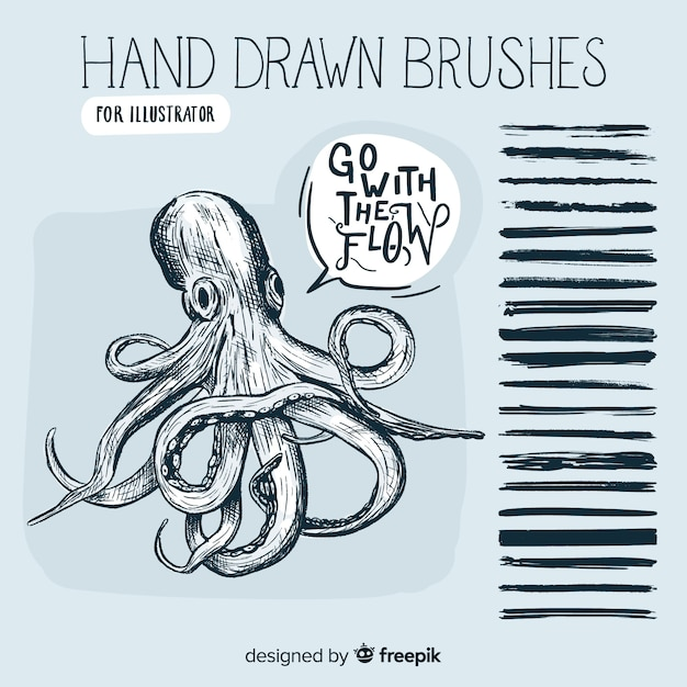 Hand drawn brushes Free Vector