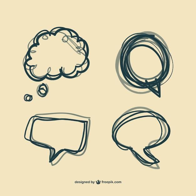 Рисованной пузырь речи набор Бесплатные векторы