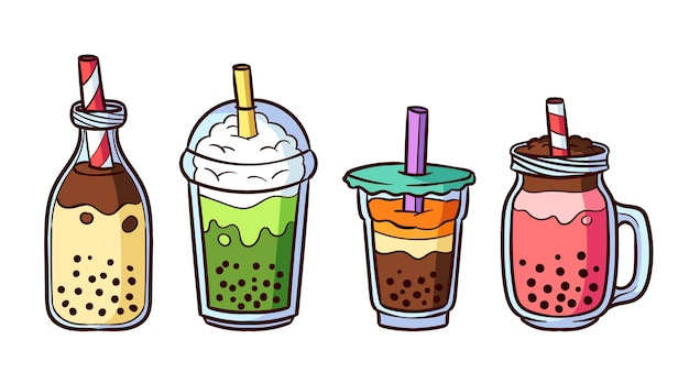 Hand drawn bubble tea flavors collection Free Vector