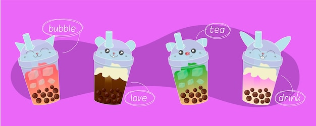 Hand drawn bubble tea flavors Premium Vector