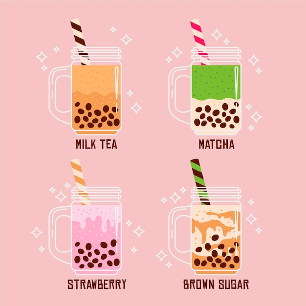 Hand drawn bubble tea flavors Free Vector