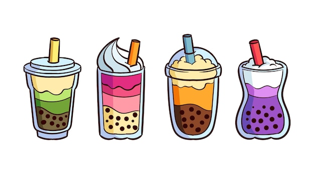 Hand drawn bubble tea flavors Free Vector