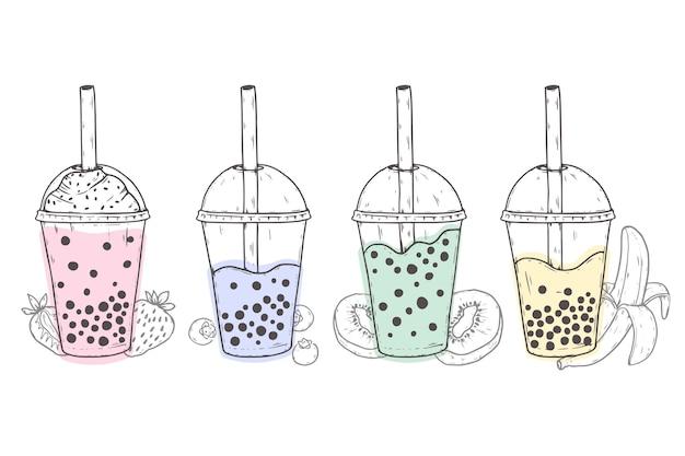 Рисованные ароматы пузырькового чая Бесплатные векторы
