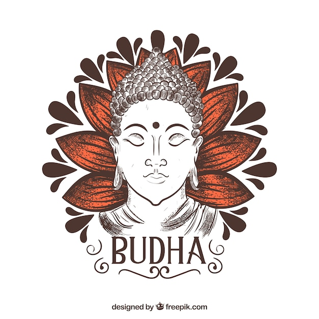 Hand drawn budha with elegant style Free Vector