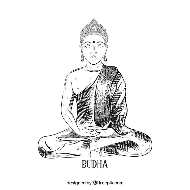 Hand drawn budha with elegant style Free Vector