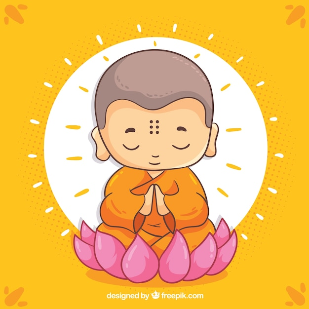 Hand drawn budha with smiley face Free Vector