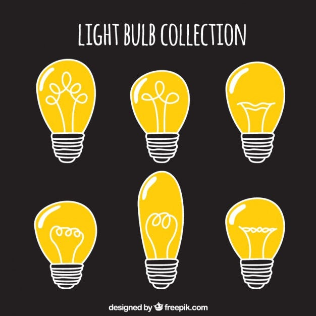 Hand drawn bulbs collection Free Vector