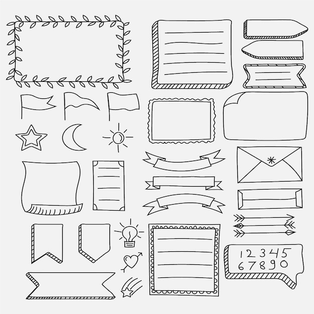 Elementi del diario proiettile disegnati a mano Vettore gratuito