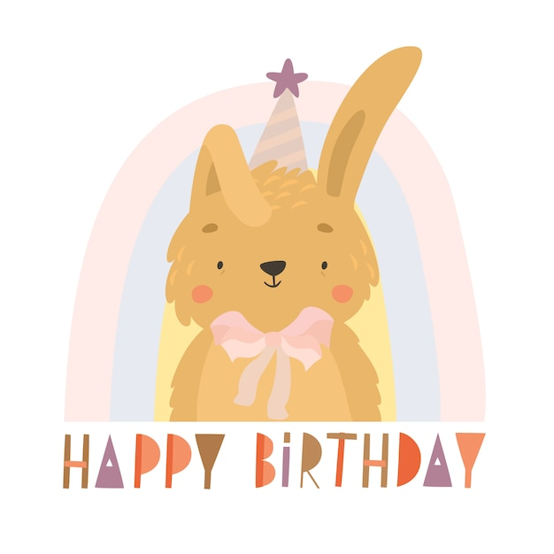 Hand drawn bunny birthday greeting card Free Vector