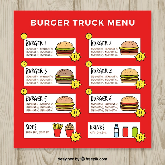 Hand drawn burger food truck menu
