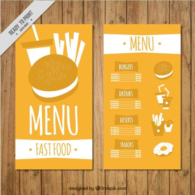 Hand drawn burger menu template vector free download for Easy menu templates free