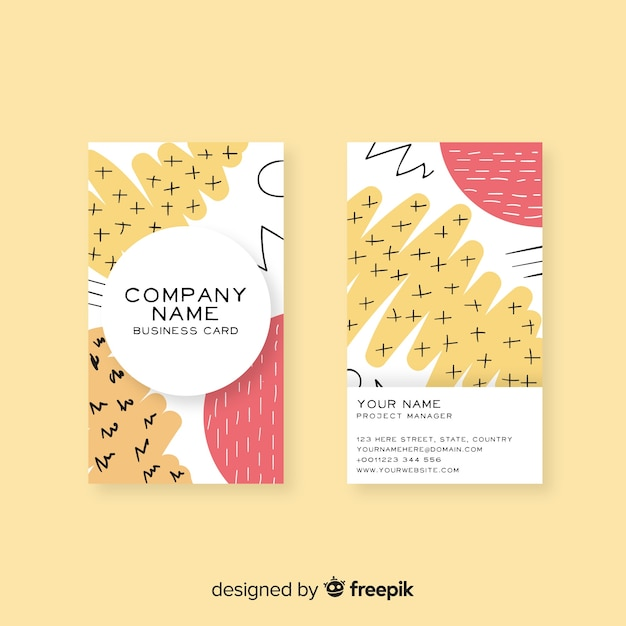 Hand drawn business card template Free Vector