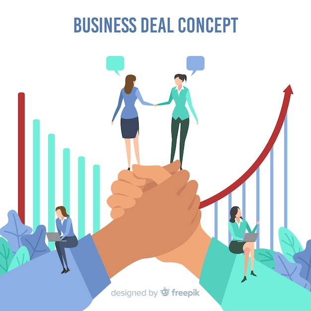 Hand drawn business deal concept Free Vector