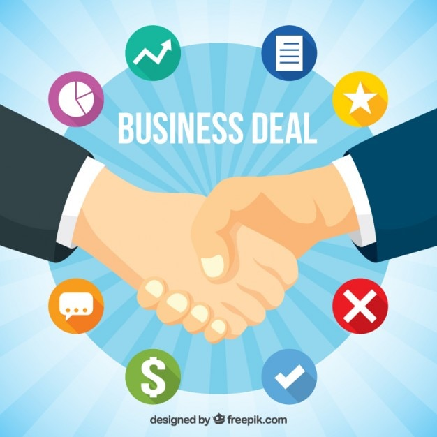 Hand drawn business deal with icons Free Vector