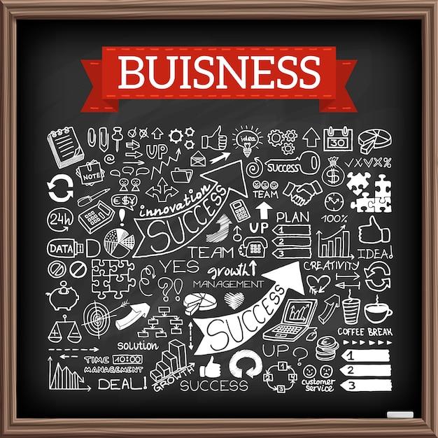 Hand drawn business doodle set Premium Vector