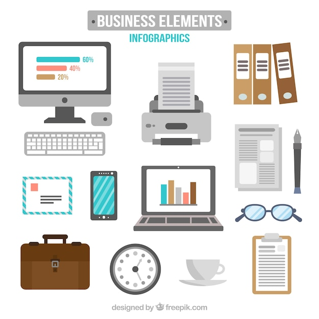 Hand drawn business elements pack Free Vector