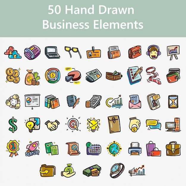 Hand drawn business elements Premium Vector