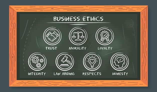 Etica aziendale disegnata a mano con lavagna Vettore gratuito