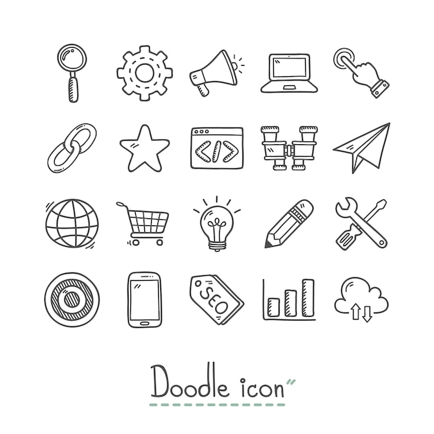 Hand drawn business icons collection Free Vector