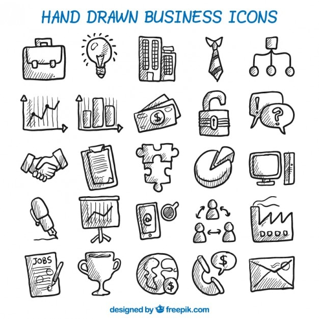 Hand Drawing Line Icons : Hand drawn business icons vector free download