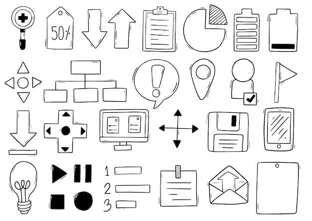 Hand drawn business idea doodles on white background Premium Vector
