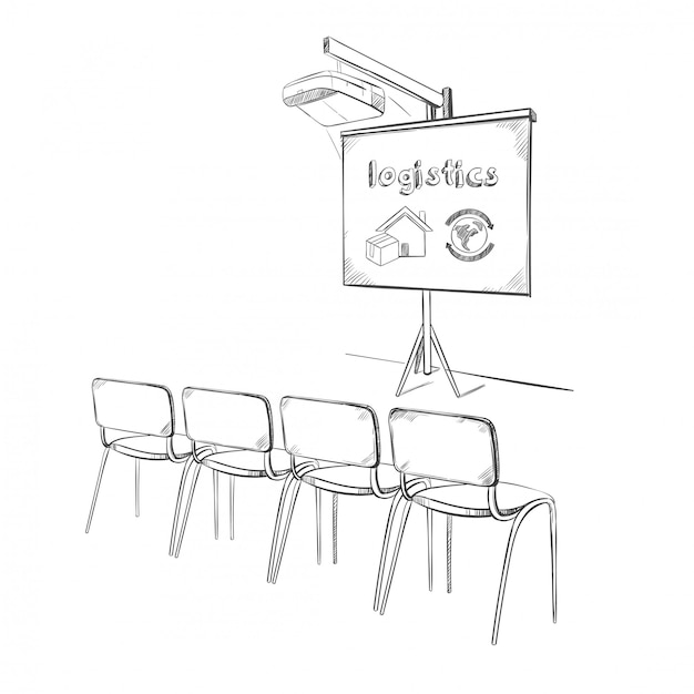 Concetto di presentazione logistica aziendale disegnato a mano Vettore gratuito