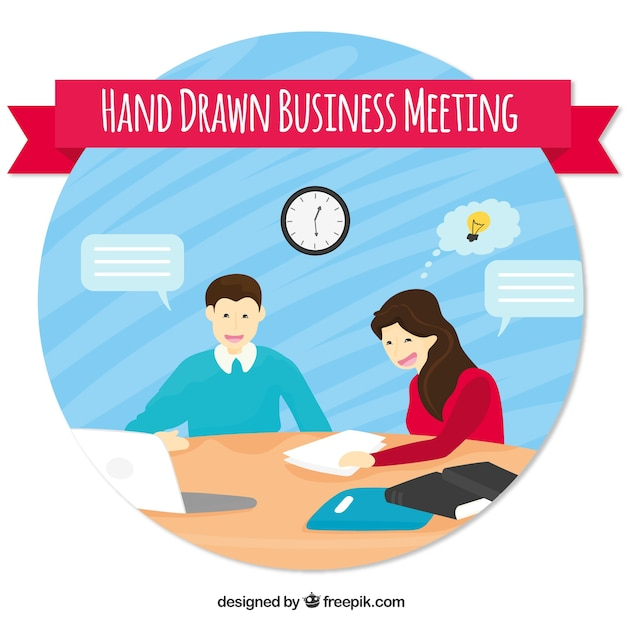 Hand drawn business meeting scene